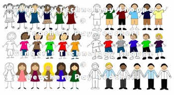 Stick Figure Clip art * Boys * Girl * Back 2 School