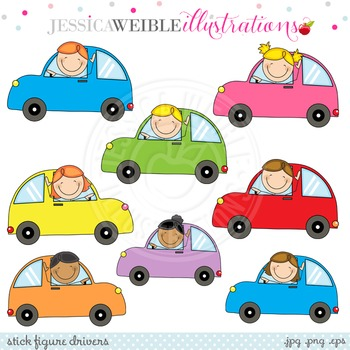 Stick Figure Drivers Cute Digital Clipart, Stick Figures Clip Art