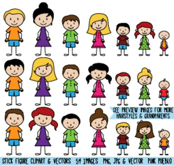 Stick Figure Family Clipart, Stick People Clip Art - Commercial & Personal
