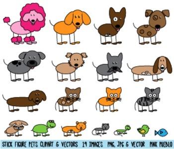 Stick Figure Pets Clipart Clip Art, Stick Family Pets Clip Art Clipart
