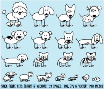 Stick Figure Pets Clipart Clip Art, Stick Family Pets and Animals