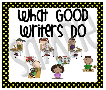 Stick Figure What Good Writers Do Posters: Black with Yellow Polka Dots