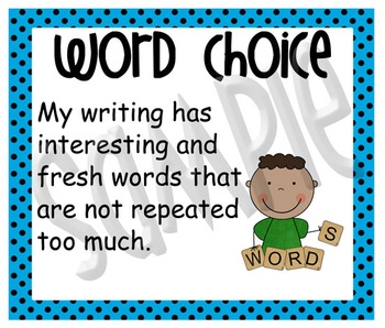 Stick Figure What Good Writers Do Posters: Vibrant Blue with Black Polka Dots