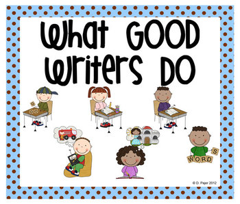 Stick Figure What Good Writers Do Posters: Blue with Chocolate Brown Polka Dots