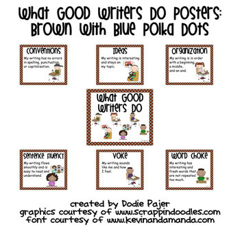 Stick Figure What Good Writers Do Posters: Chocolate Brown with Blue Polka Dots