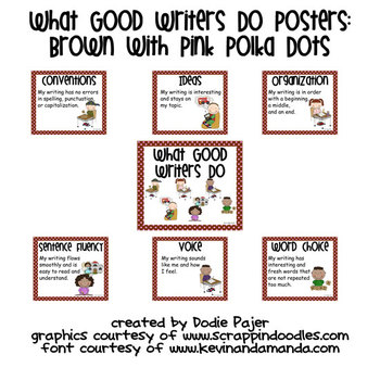 Stick Figure What Good Writers Do Posters: Chocolate Brown with Pink Polka Dots