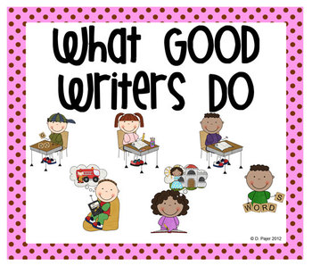 Stick Figure What Good Writers Do Posters: Pink with Chocolate Brown Polka Dots