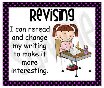 Stick Figure Writing Process Posters - Black with Pink Polka Dots