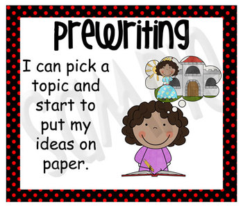 Stick Figure Writing Process Posters - Black with Red Polka Dots