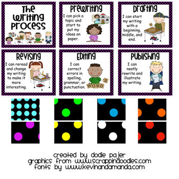 Stick Figure Writing Process Posters - Black with Vibrant Blue Polka Dots