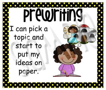 Stick Figure Writing Process Posters - Black with Yellow Polka Dots
