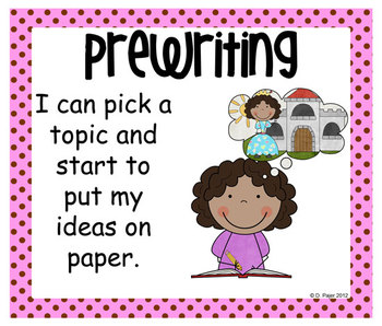 Stick Figure Writing Process Posters - Pink with Chocolate Brown Polka Dots