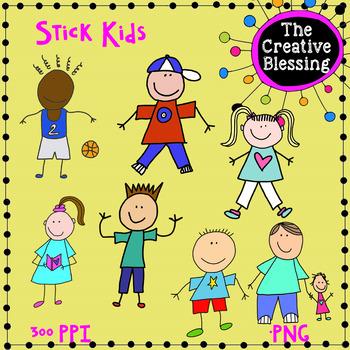Stick Guys and Gals Clip Art Kids Graphics