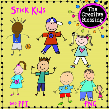 Stick Guys and Gals Clip Art Kids Graphics
