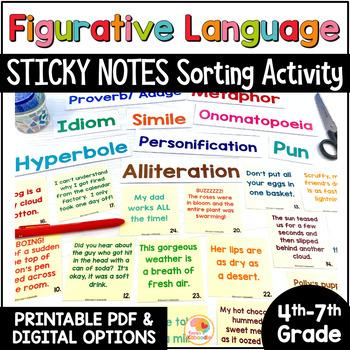 Stick It to Make It Stick™- Figurative Language Sorting Activity w/ Sticky Notes