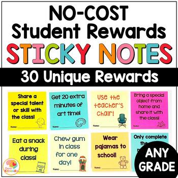 NO COST Student Rewards on Sticky Notes