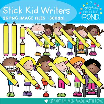 Stick Kid Writers - Writing Kid Pencil Clipart