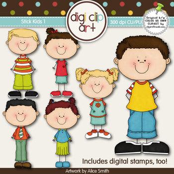 Stick Kids 1-  Digi Clip Art/Digital Stamps - CU Clip Art