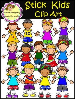 Stick Kids Clip Art (School Designhcf)