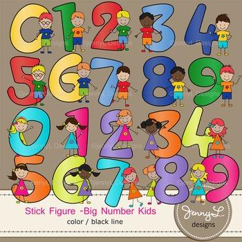 Stick Kids Clipart: Big Number Kids , Stick Figure Math