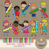 Stick Kids Clipart: Colored Pencil Kids , Stick Figure