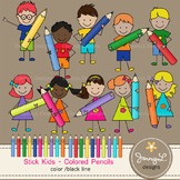 Stick Kids Clipart: Colored Pencil Kids , Stick Figure
