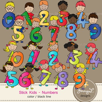 Stick Kids Clipart: Number Kids , Stick Figure Math