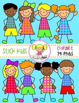 Stick Kids Clipart {Polk Dots}