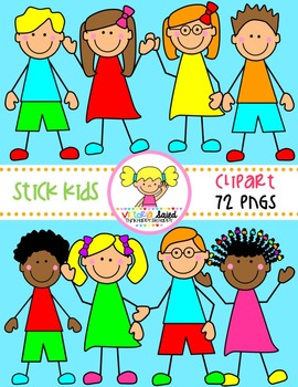 Stick Kids Clipart {Set 1}