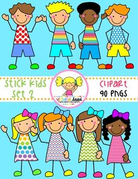 Stick Kids Clipart {Set 2}