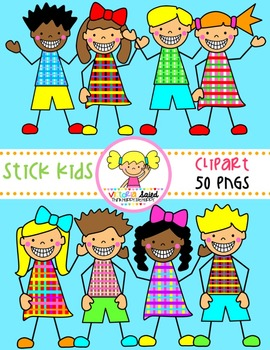 Stick Kids Clipart {Set 4}