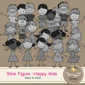 Stick Kids Clipart Stick Figure - Happy Kids Color, Lineart and BW