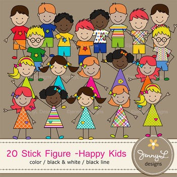 Stick Kids Clipart Stick Figure - Happy Kids Color, Linear