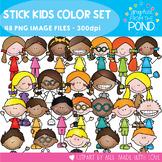 Stick Kids Color Clipart Set