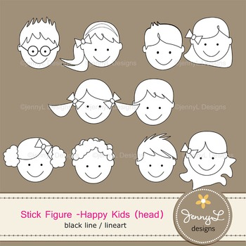 Stick Kids HEAD Clipart Stick Figure Color and Lineart