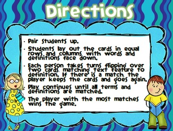 Stick Kids Nonfiction Text Features Memory Game-Common Core SS RI4.7