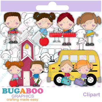 Stick Kids School Days Clipart - Digi Stamps - Line Art
