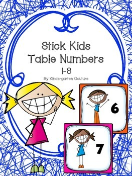 Stick Kids Table or Group Numbers 1-8