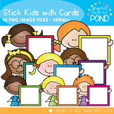 Stick Kids with Cards - Clipart for Teaching