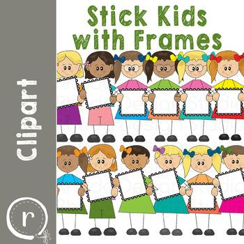 Stick Kids with Frames Clip Art (RDS Clipart)