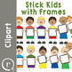 Stick Kids with Frames Clipart