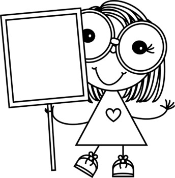 Stick Kids with Signs Clip Art
