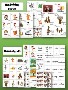 Stick Man - Flashcards, Mini-cards and Matching Cards
