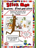Stick Man Seasons - Find and Stick Craft - Learn English through Craft