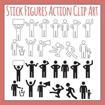 Stick Men / Paper People Action / Verb Figures Clip Art Set for Commercial Use
