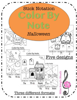 Stick Notation Color by Note: Halloween