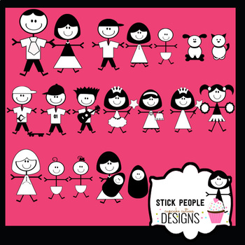 Stick People Family School Kids - Digital Clip Art Set