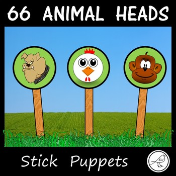 Stick Puppets - ANIMALS - (HEADS ONLY)  -  66 in total!