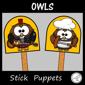 Stick Puppets - OWLS - 18 puppets plus a black and white t