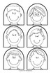 Stick Puppet Templates - 17 people heads - with and without faces